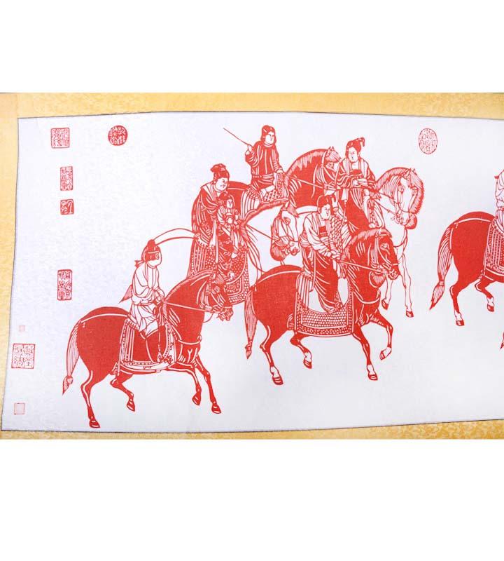 手工剪纸画卷-虢国夫人游春