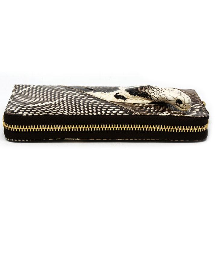 河南南阳新野 特产 眼镜蛇皮钱包 灰白色 带蛇头 20*11cm 盒装