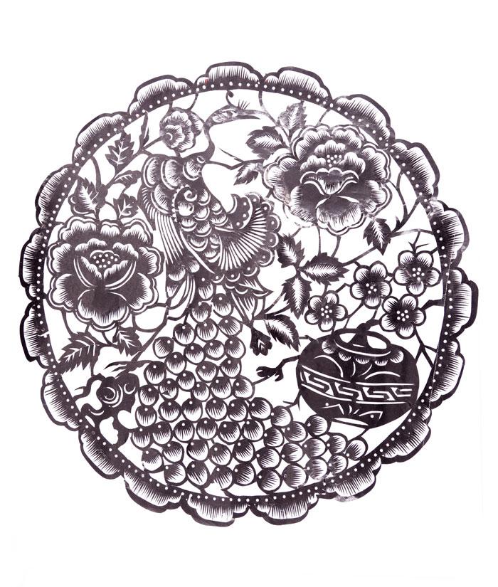 河南三门峡陕县 任孟仓 剪纸-团花-凤凰戏牡丹 剪纸工艺品 61*55 散装